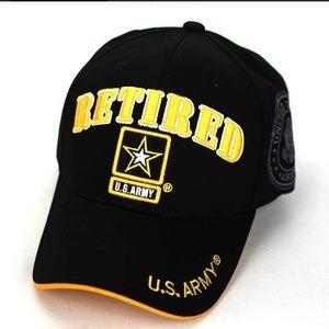 Retired U.S. Army Black Cap Hat